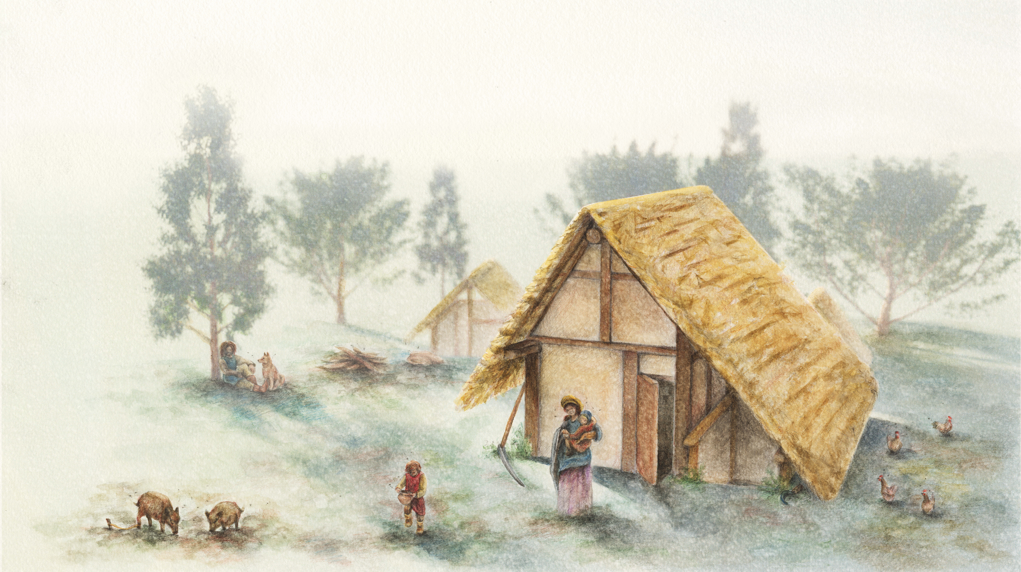 Zeichnung eines frühmittelalterlichen Hauses.